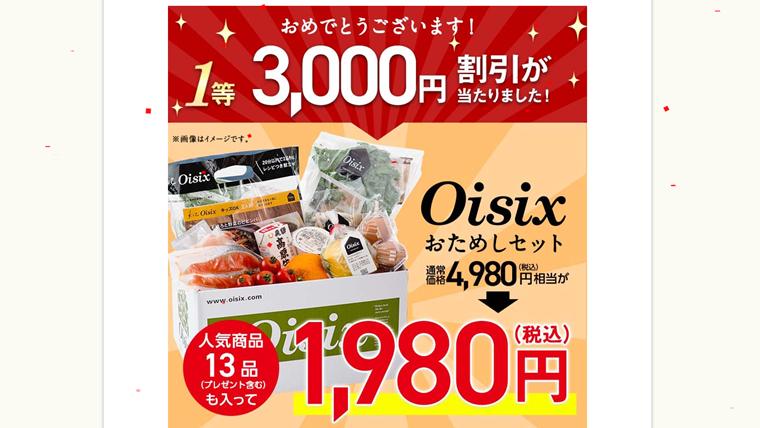 オイシックスのお試しセット1980円が当選しました!